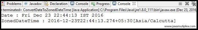 Output of Java program that converts Date to ZonedDateTime.