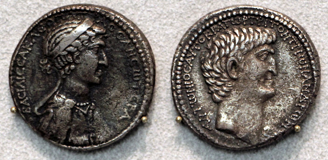 Silver coin with Cleopatra VII on one side and Mark Antony on the other.
