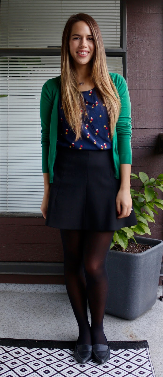 Jules in Flats - Festive Work Outfit with Mini Skirt
