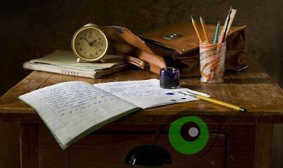 study desk with books