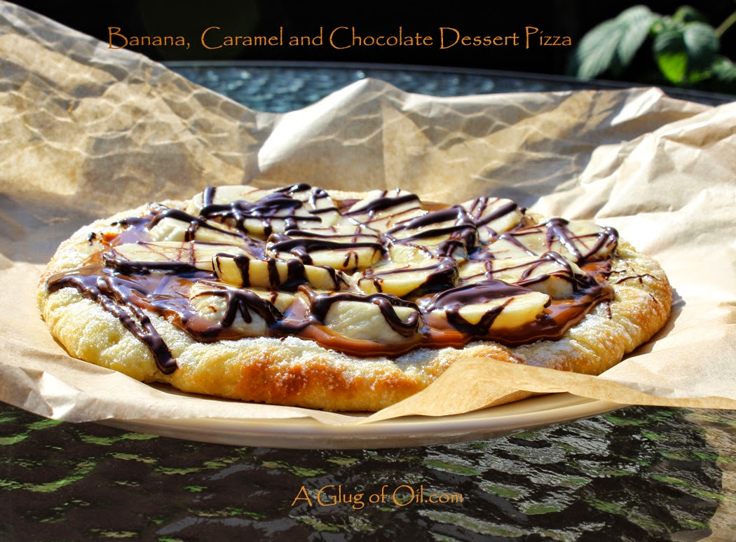 Banana Caramel and Chocolate Dessert Pizza