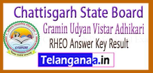 CG RHEO Gramin Udyan Vistar Adhikari Exam Answer Key Result Cut Off 2018