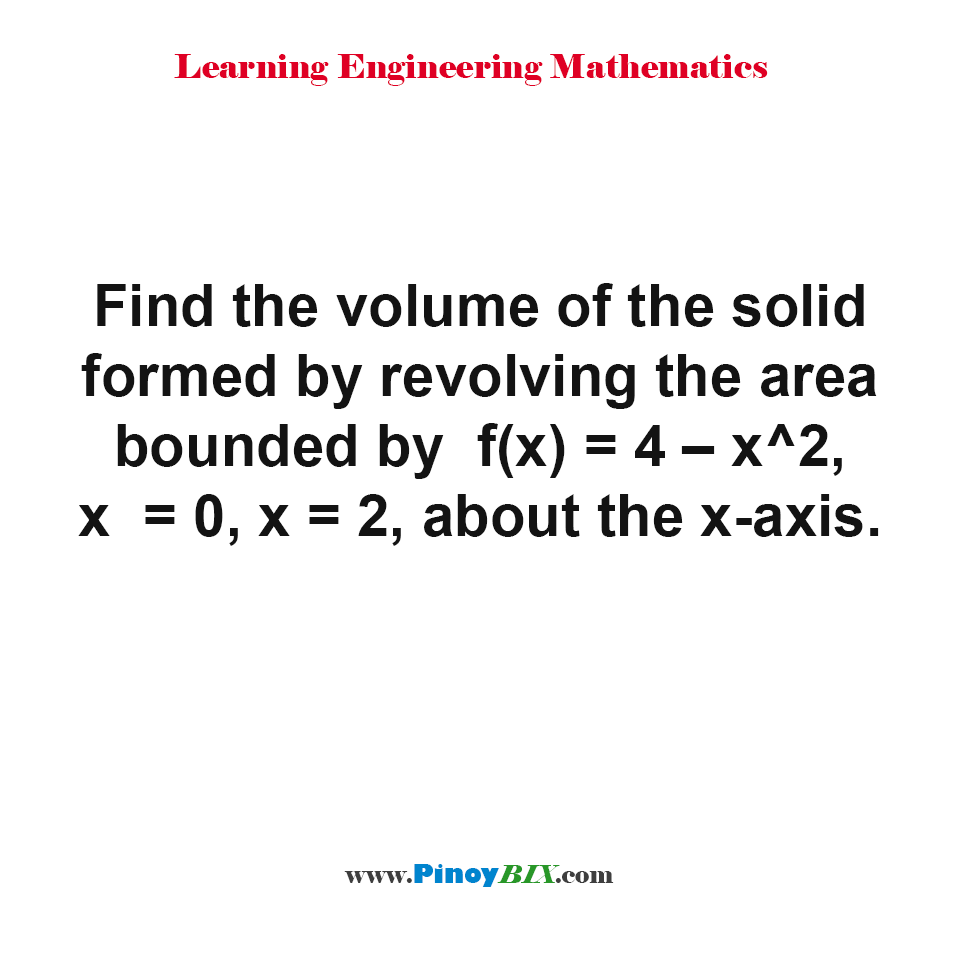 Find the volume of the solid formed by revolving the area bounded by f(x) = 4 - x^2