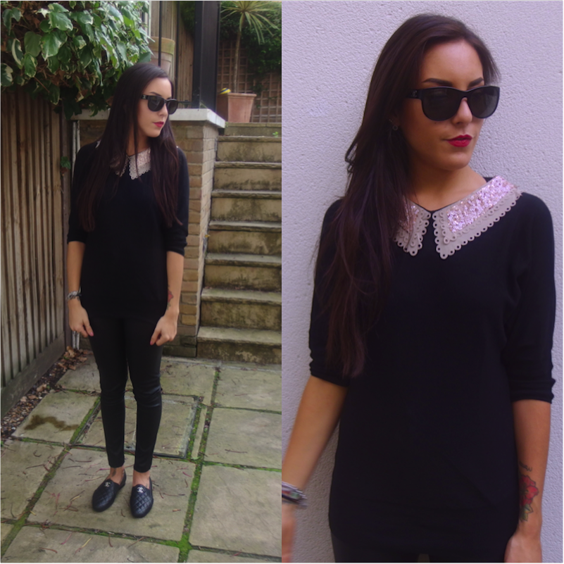 bc07ac307f0e7 Top from ASOS / Faux Leather trousers from Topshop / Chanel flats & bag /