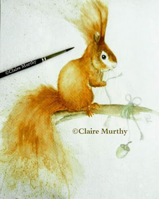squirrel watercolour painting