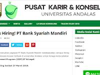PT Bank Syariah Mandiri via Kampus Unand sd 27 Maret 2019