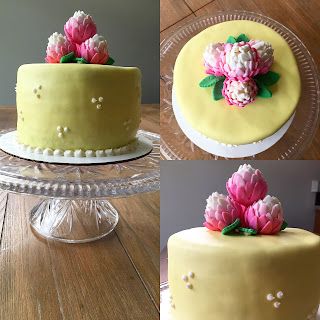 Spring Themed Cake with Gum Paste Mum Toppers