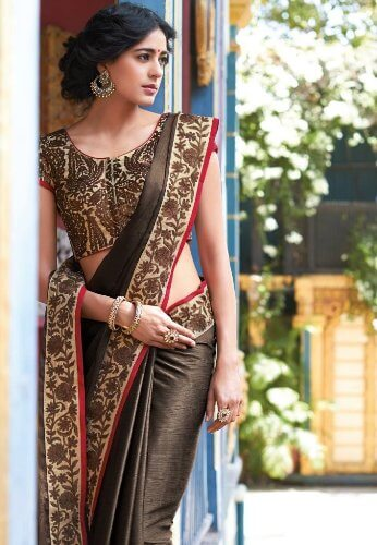 Floral Glossy Brown Saree