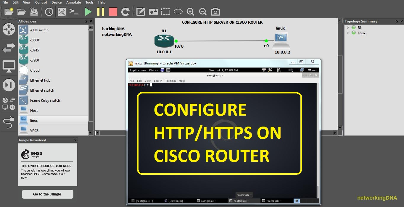 Gns3 Lab Configure Httphttps Server On Cisco Router Networkingdna