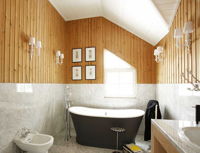 Badezimmer Dachboden Gestalten Holz Natürlichen Stil Japanisch Mit