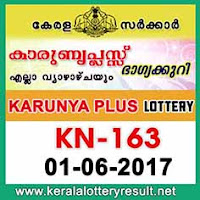 Karunya Plus Lottery KN-163 Results 1-6-2017