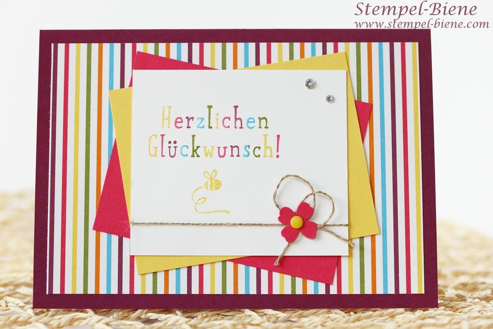 Stampin Up Honigsüße Grüße, Stampin Up bunte Geburtstagskarte, Stampin Up Sammelbestellung, Stampin Up Weihnachtsartikel