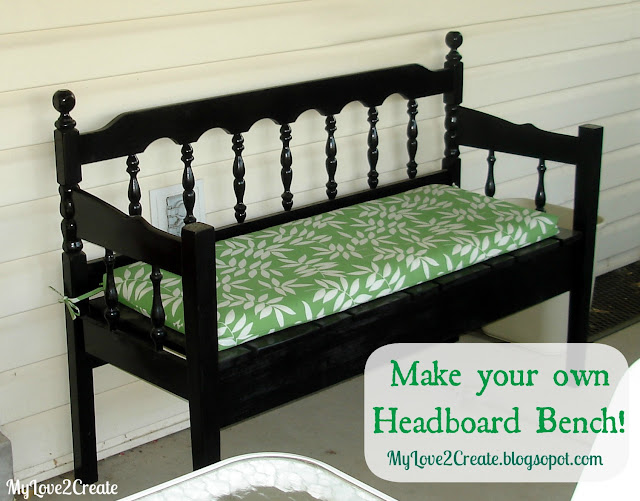 How to build a beautiful Headboard bench with different repurposed parts, full picture tutorial at MyLove2Create