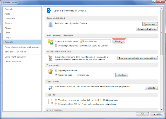Outlook, Cartella di avvio Outlook