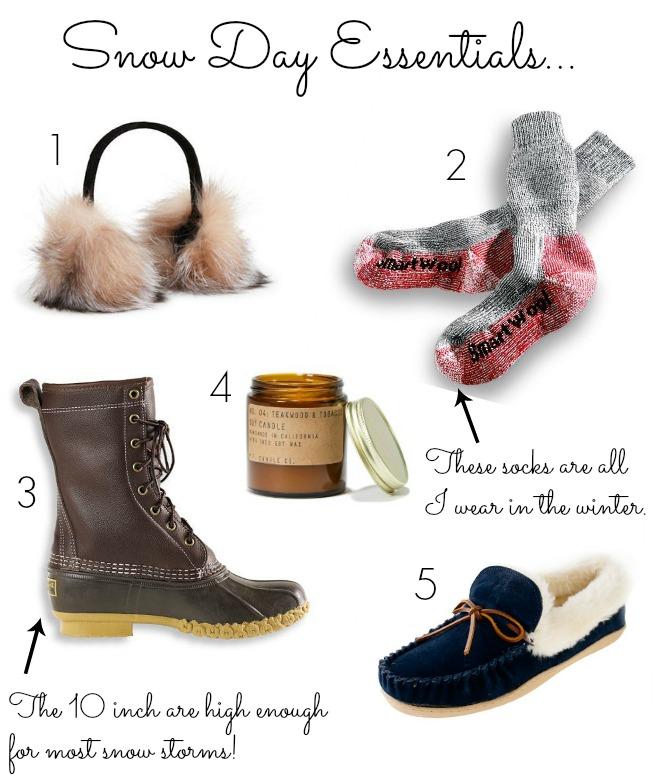 snow day essentials - bean boots for snow - smartwool socks - fur ear muffs