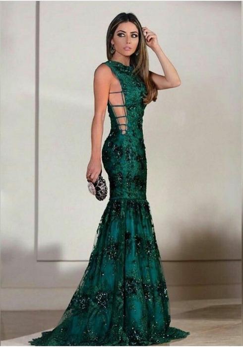 vestido de festa verde formatura ou madrinha