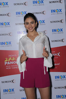 Rakul Preet in Pink Dress with Cute Smile for INOX ScreenX Launch 1