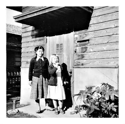 Elena Vasilev in Japan in the early 1950's with a neighborhood friend