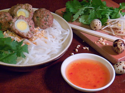 Quail Egg Stuffed Pork Meatballs with Rice Noodles