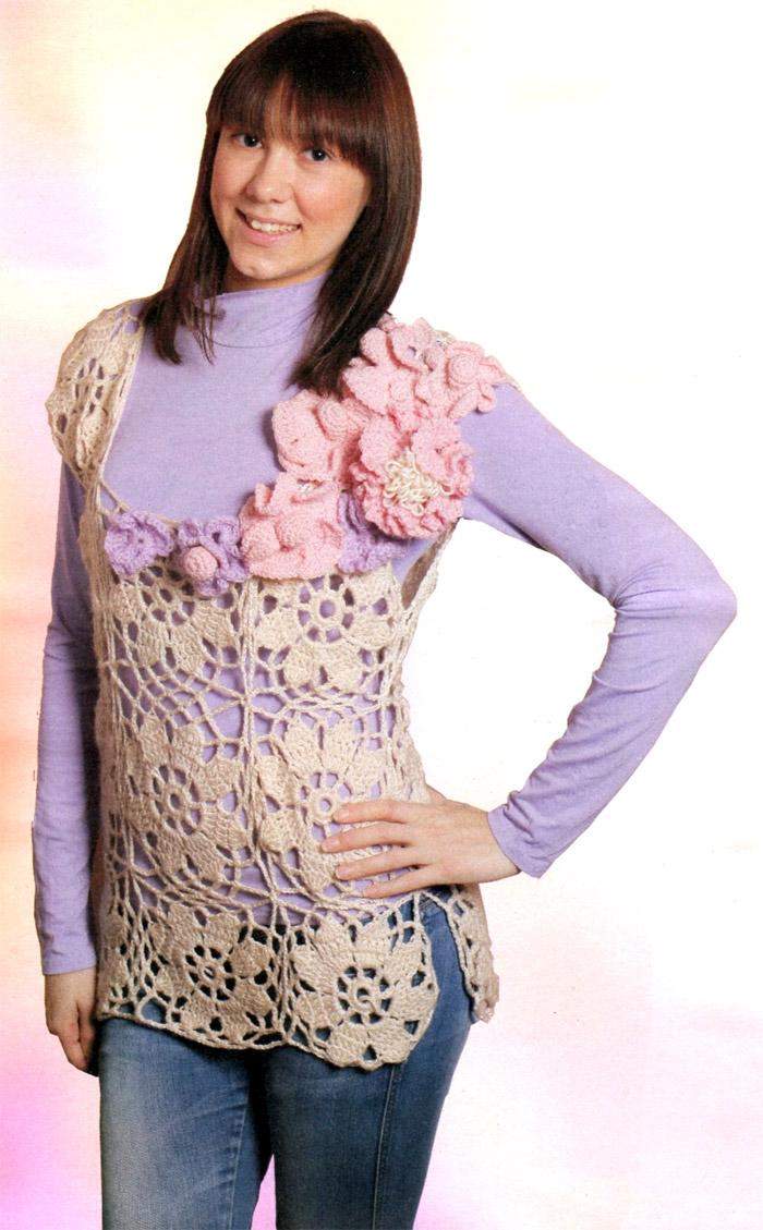 Ажурный жилет с объемными цветами. Openwork vest - Crochet