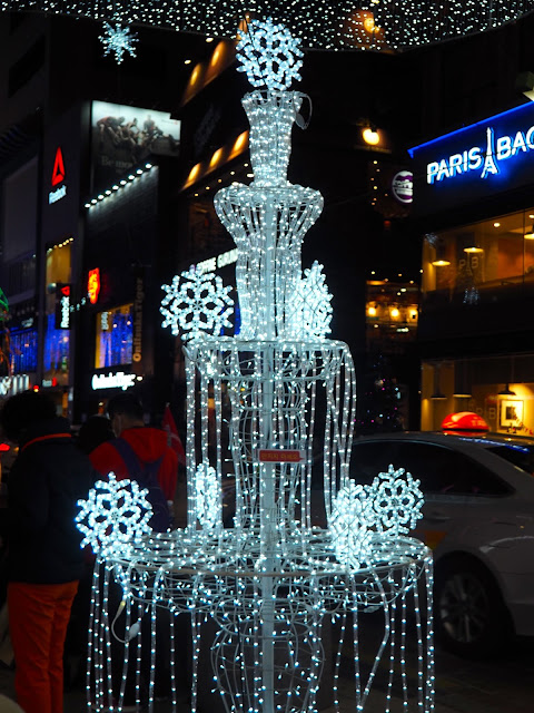 Fountain of white lights as part of the Christmas display in Nampo, Busan, South Korea
