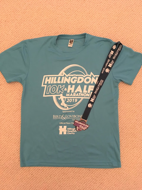 Hillingdon Half and 10k finisher's medal and t-shirt