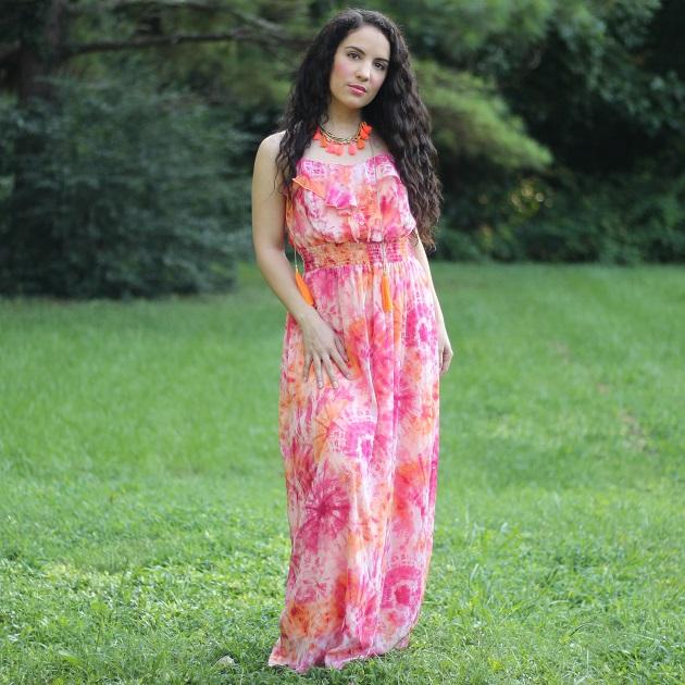 Orange Tie Dye Maxi Dress