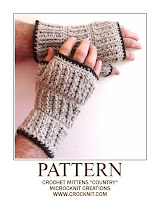 how to crochet, crochet patterns, mittens, fingerless, man mitts,