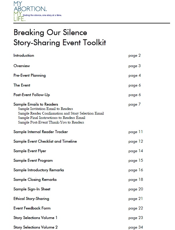 Breaking Our Silence Toolkits To Start Your Own Event  Words Of