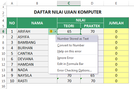 Number Stored as text di Excel