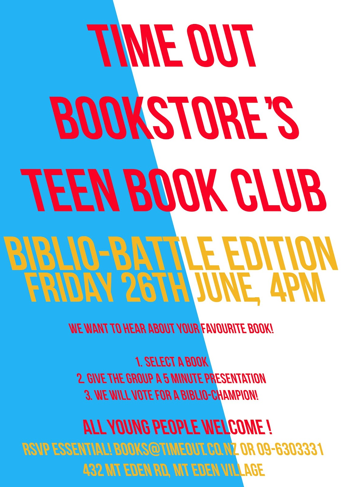 Events - Teen Book Club's Biblio-Battle | Time Out Bookstore