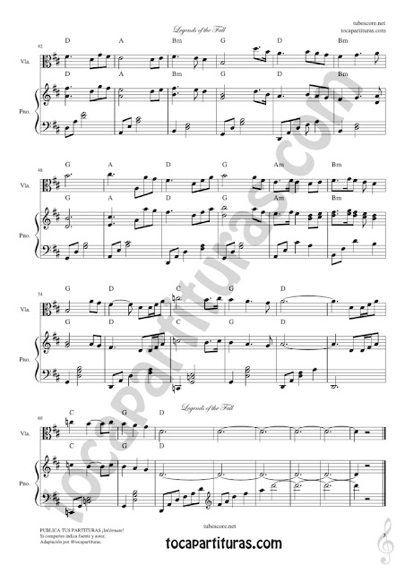 3 Legends of the Fall Sheet Music for Viola