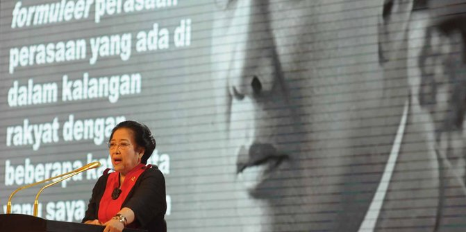 Megawati saat pidato pada HUT ke-44 PDIP