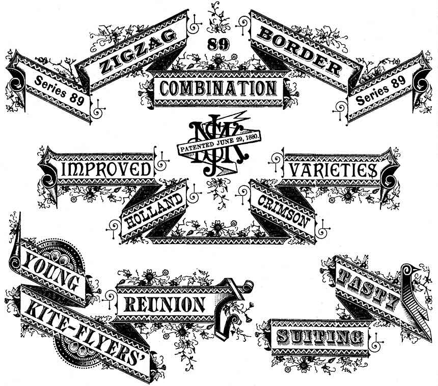 1892 graphic banners from a printer's catalog