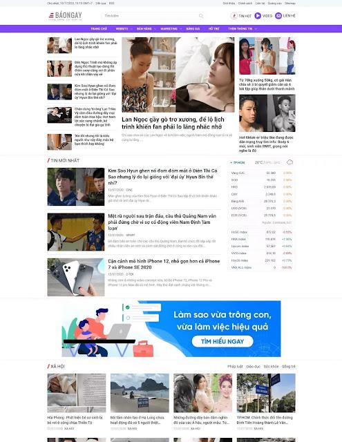Template blogspot blog tin tức báo chí đẹp chuẩn seo tải nhanh