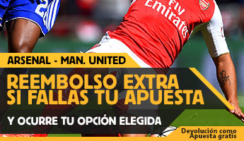 betfair reembolso 25 euros Premier League Arsenal vs Manchester United 4 octubre