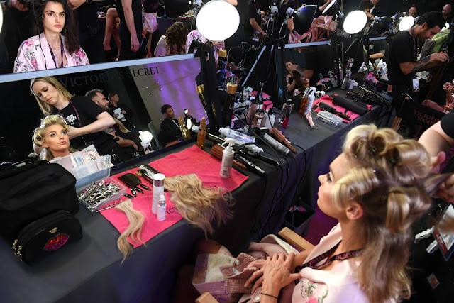 Elsa Hosk on the Backstage at 2017 Victoria's Secret Fashion Show in Shanghai