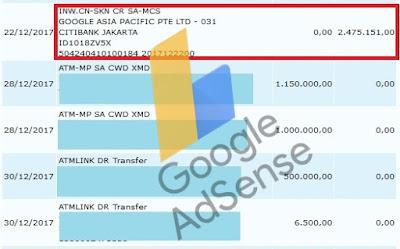 bukti pembayaran dari adsense
