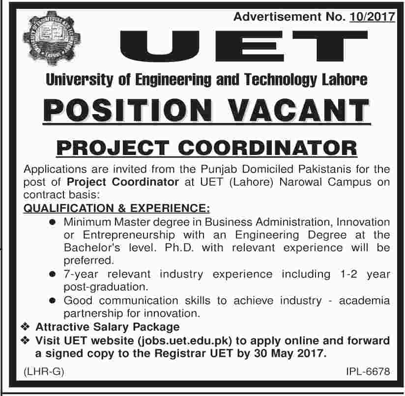 UET Lahore job In University Of Engineering And Technology 25 May 2017