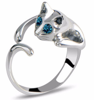 Cat Rings Jewelry Silver Blue Eye