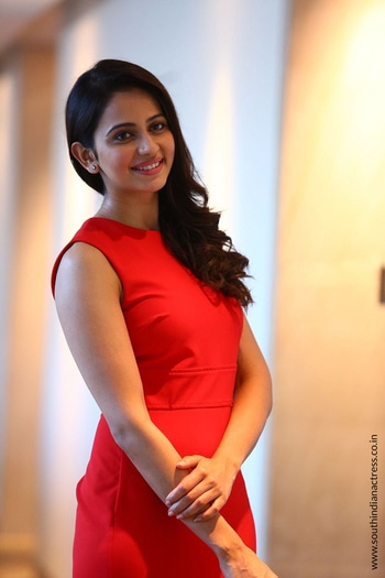 Rakul Preet Singh Hd Images Or Red Dress Images Or Smiling Images