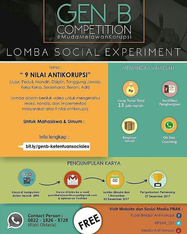 Lomba Social Experiment Gen B Competition 2017 Untuk SMA, Mahasiswa & Umum