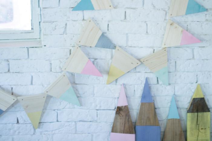 Guirnalda de banderines de madera DIY
