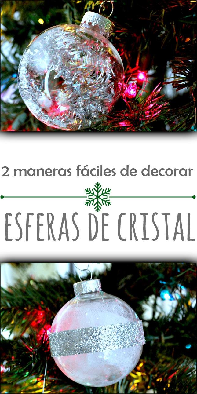Esfera de cristal decorada y puesta en el árbol de Navidad. by www.unamexicanaenusa.com