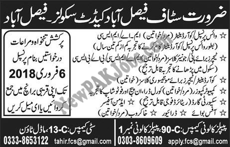 Faisalabad Cadet Schools Jobs Male, Female