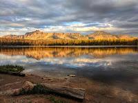 View of Hayden Peak at sunset by Mirror Lake, Utah