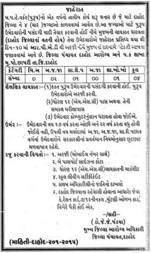 Dahod District Panchayat MPHW Training Course (1 Year) - Kawant Express