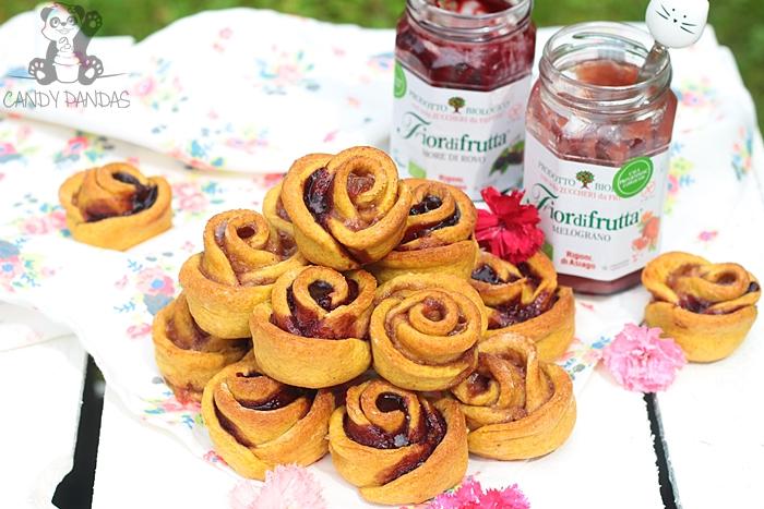 Orkiszowo-owsiane różyczki nadziane konfiturą jeżynową i z owoców granatu (bez cukru białego, laktozy, wegańskie)