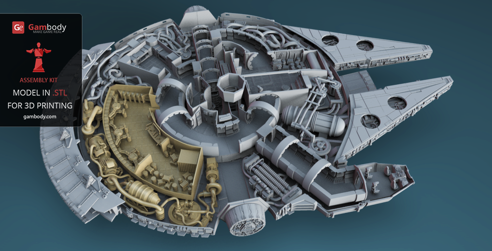Millennium Falcon Interior 3d Printable Parts Kit 2 Hyperdrive And Engineering Nixon 39 S 3d Models