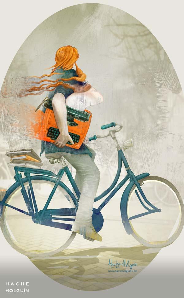Ilustración Orange typewriter por Hache Holguín